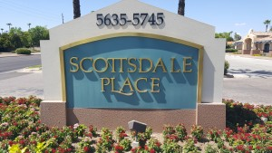 Scottsdale sign on road to get to office